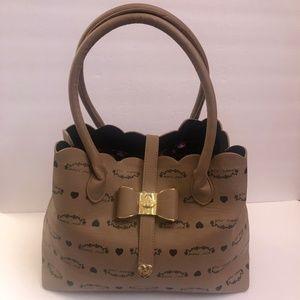 Betsey Johnson Handbag Satchel Large Beige Weekend